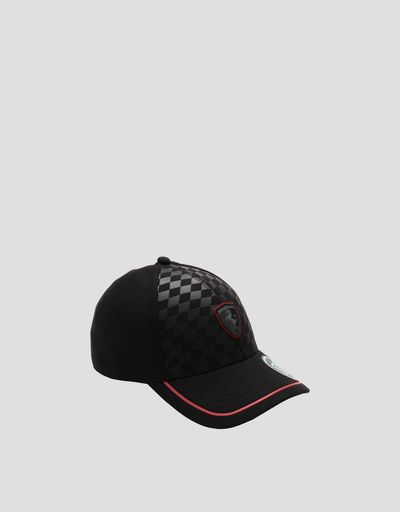 Men's hat with embossed chequered pattern