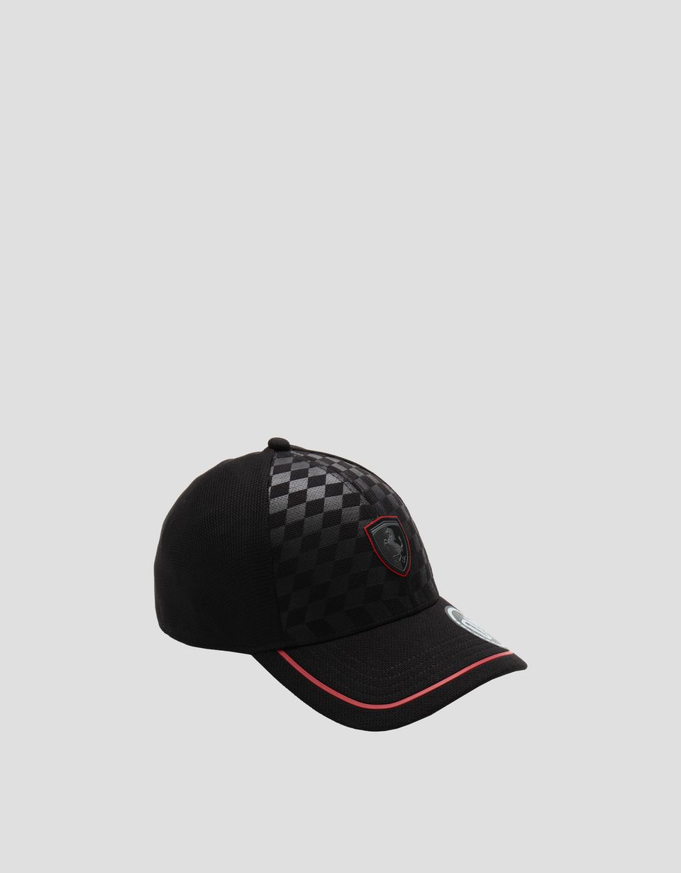 Scuderia Ferrari Online Store - Men's hat with embossed chequered pattern - Baseball Caps