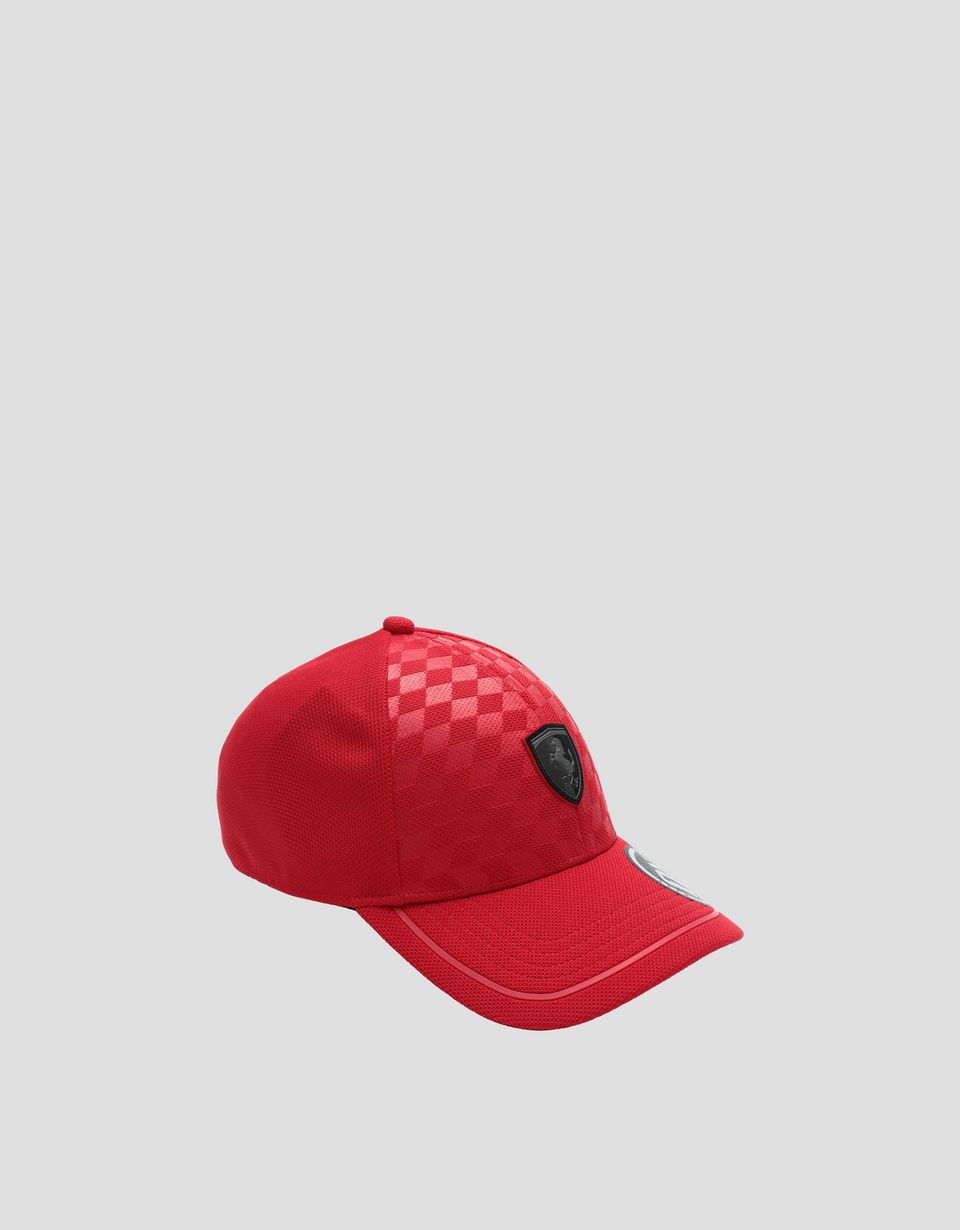 Scuderia Ferrari Online Store - Men's baseball cap with embossed checked pattern - Baseball Caps