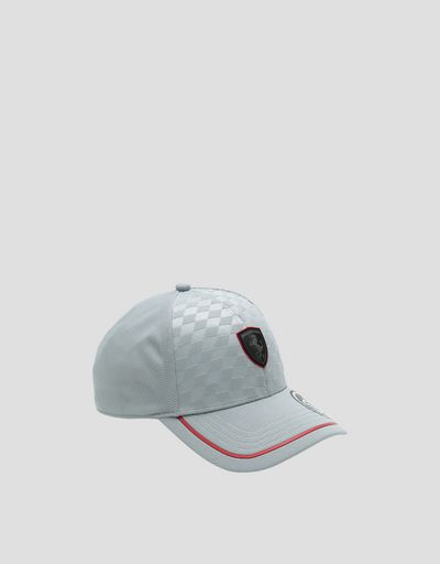 Men's baseball cap with embossed checked pattern