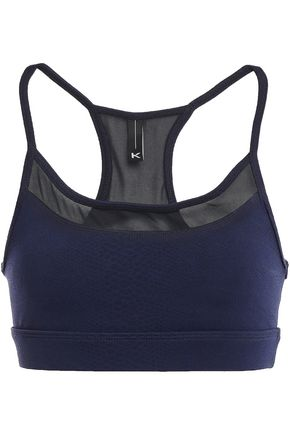 KORAL Mesh-paneled textured stretch sports bra