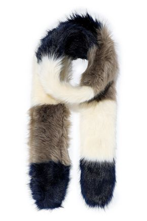 STAND STUDIO Olga color-block faux fur scarf