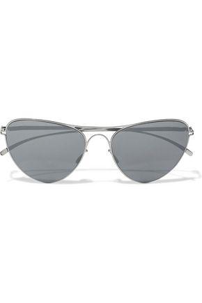MYKITA + MAISON MARGIELA Aviator-style silver-tone mirrored sunglasses
