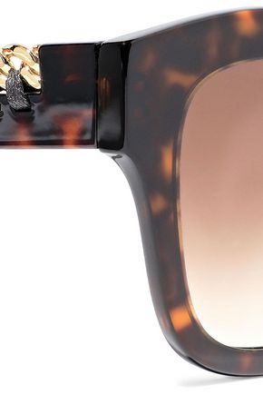 STELLA McCARTNEY Square-frame embellished tortoiseshell acetate sunglasses