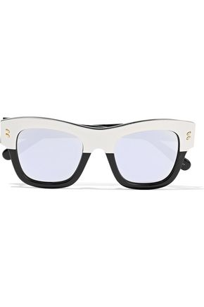 STELLA McCARTNEY D-frame silver-tone and acetate sunglasses