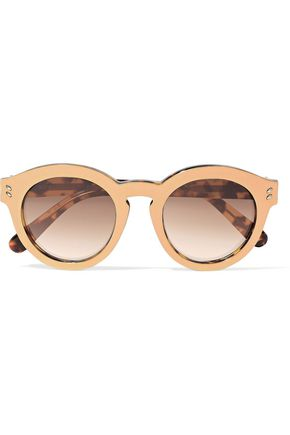 STELLA McCARTNEY Round-frame gold-tone and tortoiseshell acetate sunglasses
