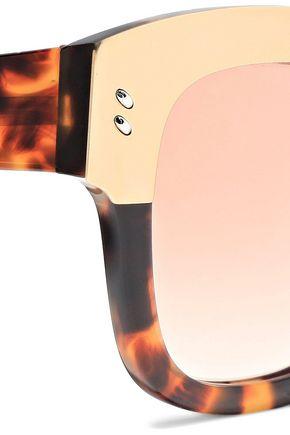 STELLA McCARTNEY D-frame gold-tone and tortoiseshell acetate sunglasses