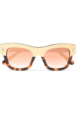 STELLA McCARTNEY D-frame gold-tone and tortoiseshell acetate sunglasses