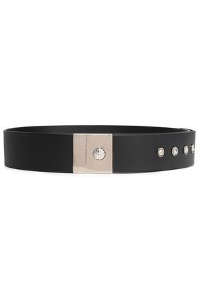 VERSUS VERSACE Silver-tone trimmed leather belt