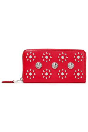 VERSUS VERSACE Studded crystal-embellished textured-leather continental wallet