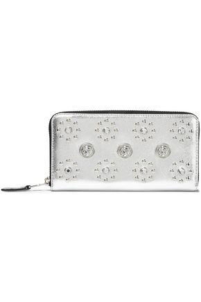 VERSUS VERSACE Embellished metallic textured-leather continental wallet
