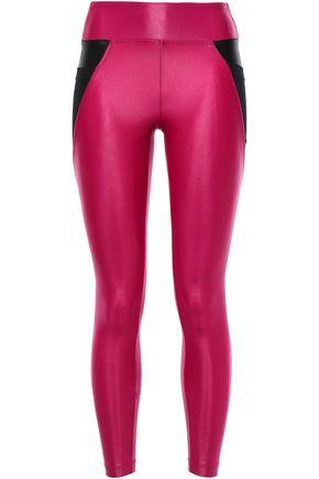 KORAL Mesh-paneled metallic stretch leggings