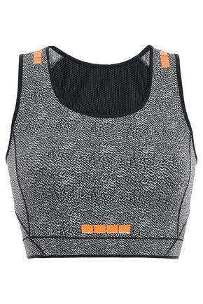 SÀPOPA Mesh-paneled cutout printed stretch sports bra