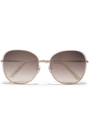BALENCIAGA Square-frame gold-tone sunglasses