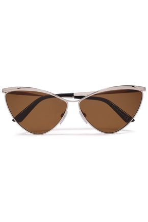 BALENCIAGA Cat-eye silver-tone mirrored sunglasses