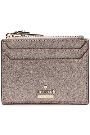 KATE SPADE New York Glittered faux leather cardholder