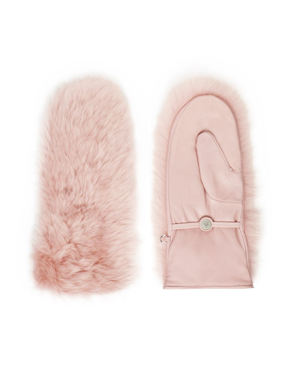 LEATHER AND FUR MITTENS  - Lanvin