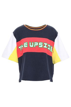 THE UPSIDE Color-block cotton-jersey T-shirt