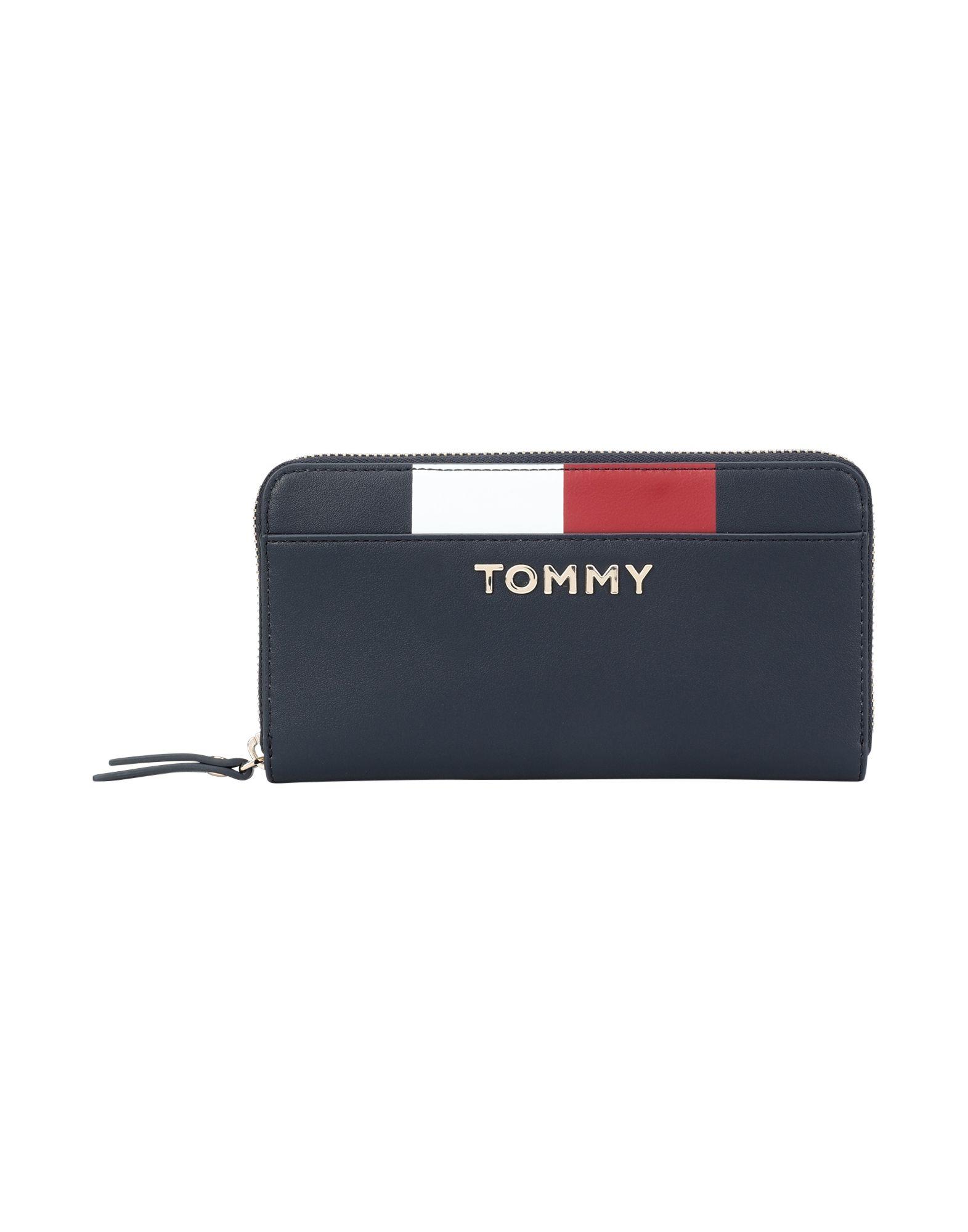 26111fb767f68 《セール開催中》TOMMY HILFIGER レディース 財布 ダークブルー ポリウレタン 100% TH CORPORATE LRG ZA