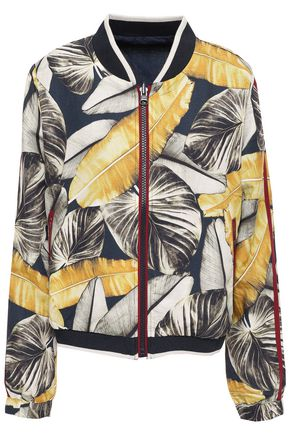 THE UPSIDE Printed linen and Tencel-blend bomber jacket