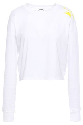 THE UPSIDE Embroidered cotton and linen-blend jersey top