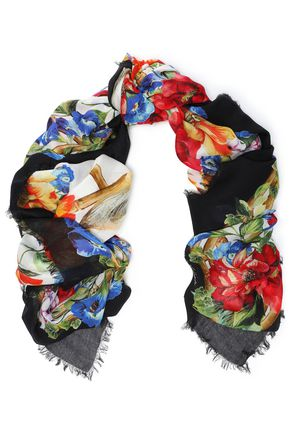 DOLCE & GABBANA Frayed printed modal and cashmere-blend scarf