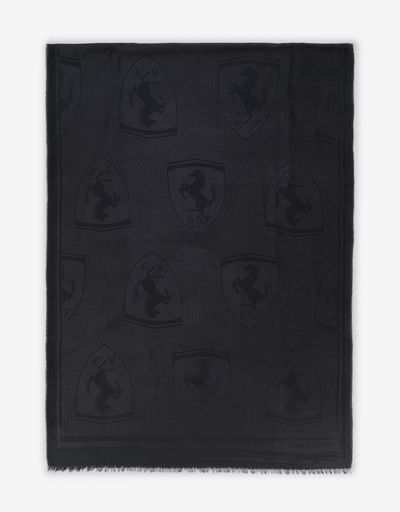 Rectangular jacquard scarf with Ferrari Shield