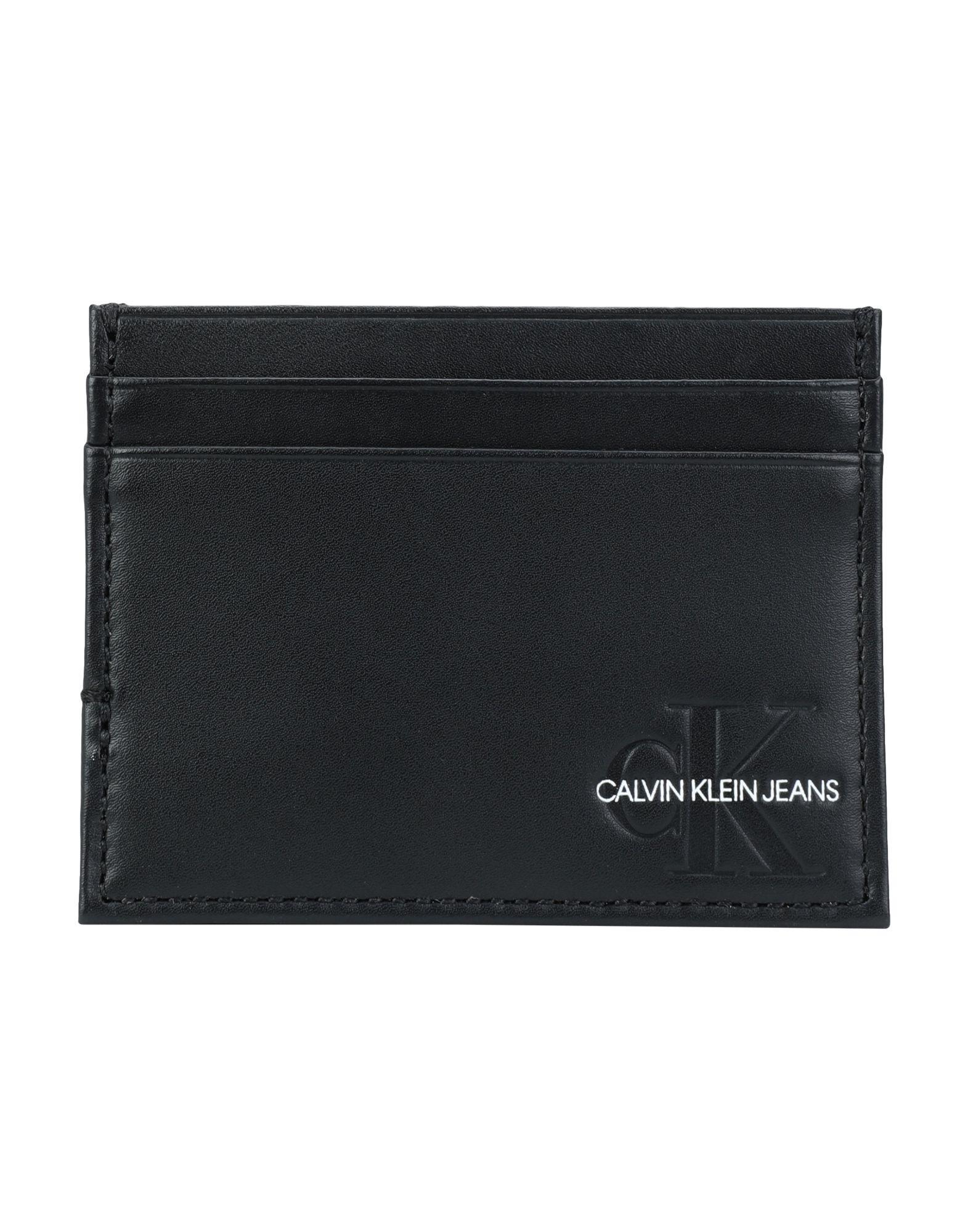 《期間限定セール開催中!》CALVIN KLEIN JEANS メンズ ドキュメントホルダー ブラック 柔らかめの牛革 100% MONOGRAM CARDHOLDER