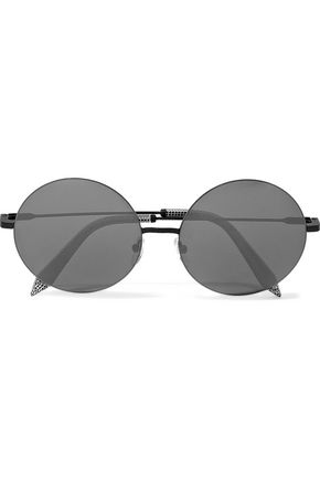 VICTORIA BECKHAM Feather round-frame metal and printed acetate mirrored sunglasses