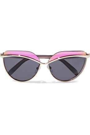 EMILIO PUCCI D-frame gold-tone and acetate sunglasses