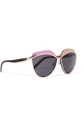 EMILIO PUCCI D-frame gold-tone and acetate sunglasses