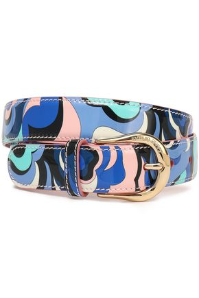 EMILIO PUCCI Printed patent-leather belt