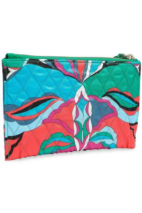 EMILIO PUCCI Leather-trimmed printed quilted twill pouch