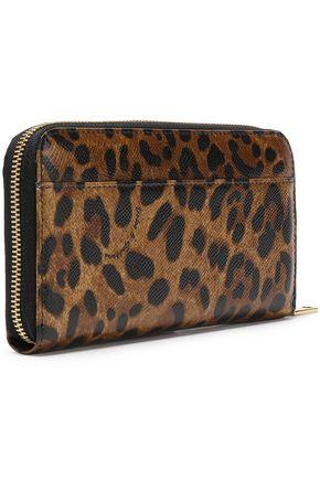 DOLCE & GABBANA Leopard-print textured-leather continental wallet