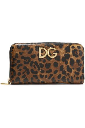 DOLCE & GABBANA Leopard-print textured-leather continental wallet
