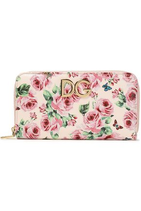 DOLCE & GABBANA Logo-embellished printed textured-leather continental wallet