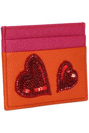 DOLCE & GABBANA Appliquéd two-tone textured-leather cardholder