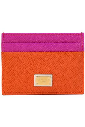 DOLCE & GABBANA Appliquéd two-tone textured-leather cardholder