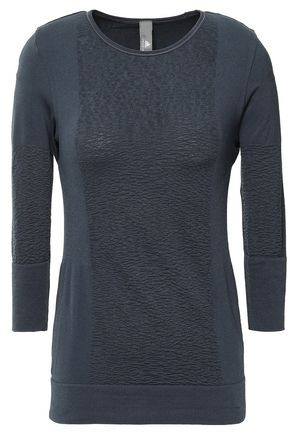 ADIDAS by STELLA McCARTNEY Paneled jacquard-knit and stretch top