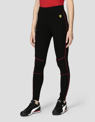 Scuderia Ferrari Online Store - Women's Milano Rib Leggings with contrasting color piping - Joggers