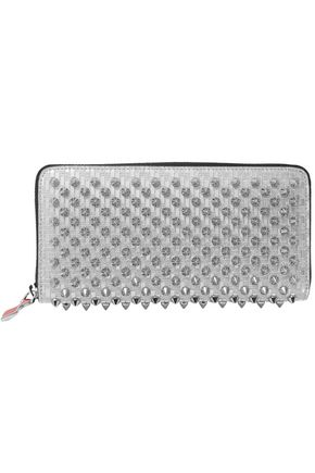 CHRISTIAN LOUBOUTIN Panettone spiked glittered metallic leather continental wallet
