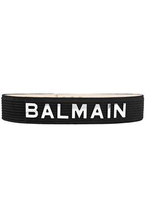 BALMAIN Logo-appliquéd quilted suede belt