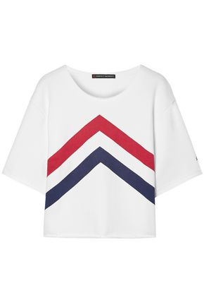 PERFECT MOMENT Cropped paneled cotton-jersey T-shirt