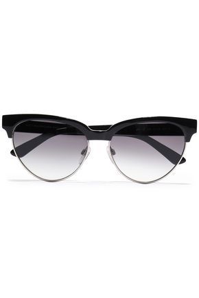 BALENCIAGA D-frame silver-tone and acetate sunglasses