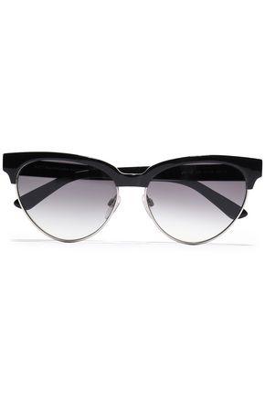 BALENCIAGA D-frame silver-tone and acetate sunglasses