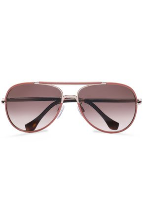 BALENCIAGA Aviator-style leather-trimmed, rose gold-tone and acetate sunglasses