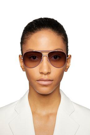 a4b9a5c1c BALENCIAGA Aviator-style leather-trimmed, rose gold-tone and acetate  sunglasses