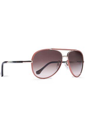 f4655afcf ... BALENCIAGA Aviator-style leather-trimmed, rose gold-tone and acetate  sunglasses ...