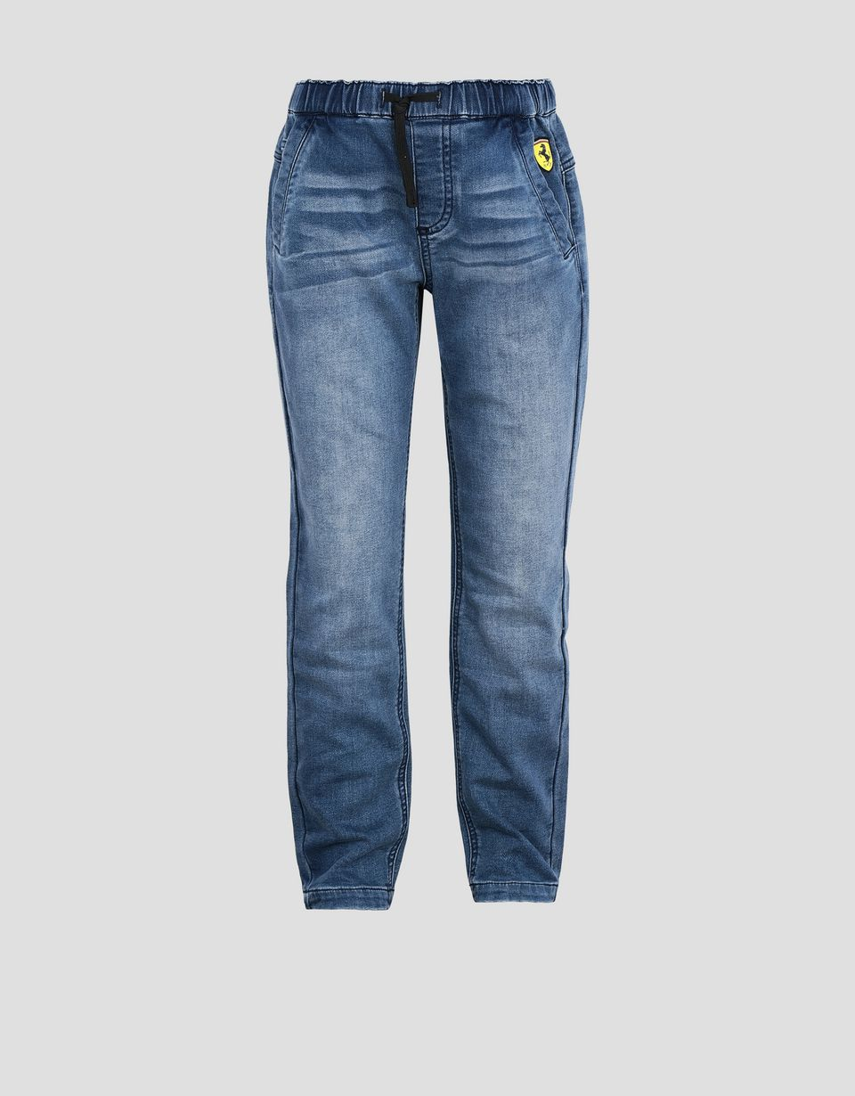 Scuderia Ferrari Online Store - Children's denim-effect stretch fleece pants - Jeans