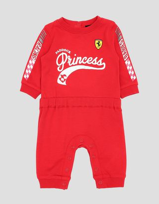 Scuderia Ferrari Online Store - Infant girl's all-in-one in interlock with PADDOCK PRINCESS print - Jumpsuits